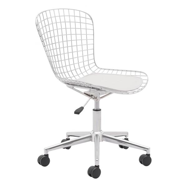Zuo Modern Wire Office Chair - 20.9-in x 19-in - Metal - Chrome