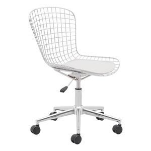 Chaise de bureau en métal Wire de Zuo Modern, 20,9 po x 19 po, chrome