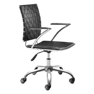 Chaise de Bureau de Zuo Modern, 17,5 po x 20,5 po, simili-cuir, noir