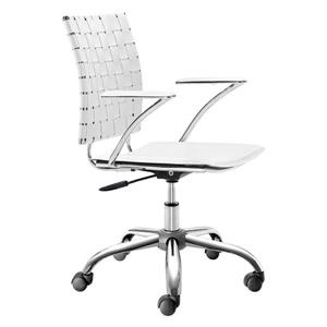 Zuo Modern Criss Office Chair - 17.5-in - 20.5-in - Faux Leather - White
