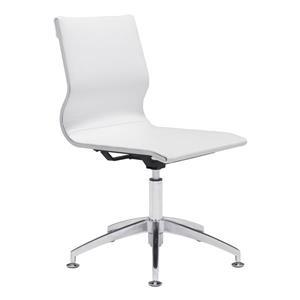 Chaise de bureau Glider de Zuo Modern, 19 po x 18,5 po, simili-cuir, blanc