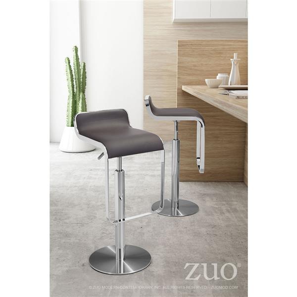 Tabouret de bar Equino de Zuo Modern, 26,5 po, similicuir, brun