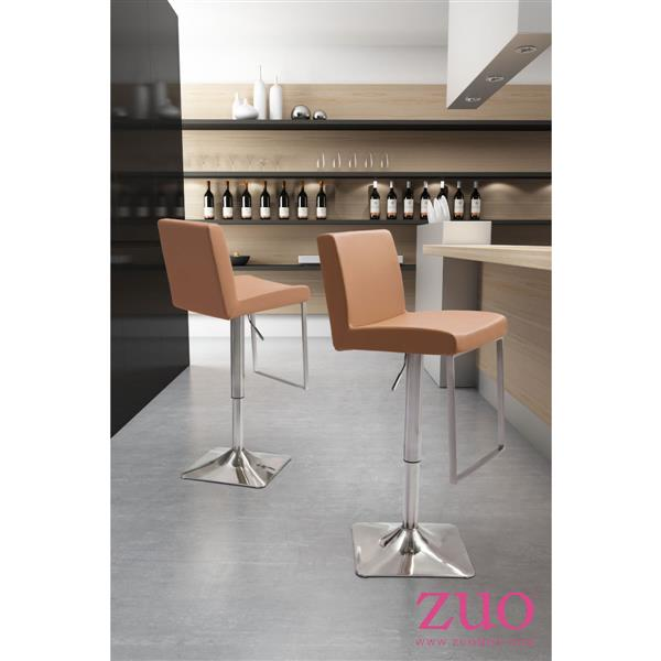 Zuo Modern Puma Bar Stool - 25.6-in - Faux Leather - Tan