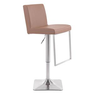 Zuo Modern Tan Leatherette 25.6-in Puma Bar Stool