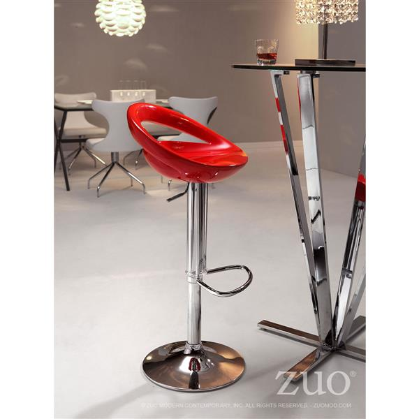 Zuo Modern Tickle Bar Stool - 24-in - Metal  - Red