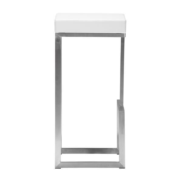Tabouret de bar Darwen de Zuo Modern, 30 po, similicuir, blanc, ens. de 2