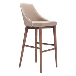 Zuo Modern Moor Bar Stool - 29.9-in - Faux Leather - Brown