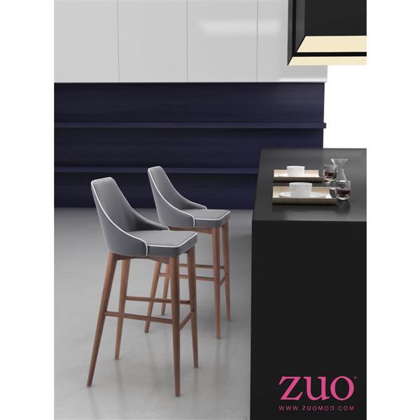 Tabouret de bar Moor de Zuo Modern, 29,9 po, similicuir, gris