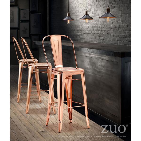 Tabouret de bar Elio de Zuo Modern, 29,9 po, or rose, ens. de 2