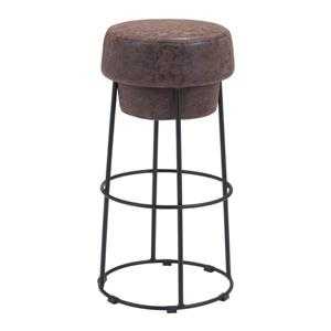 Zuo Modern Pop Bar Stool - 29.5-in - Faux Leather - Brown