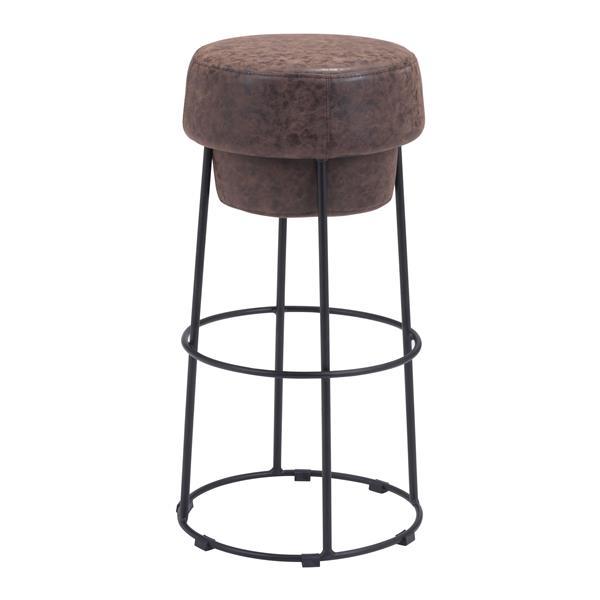 Tabouret de bar Pop de Zuo Modern, 29,5 po, similicuir, brun