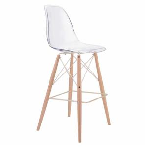 Tabouret de bar Shadow de Zuo Modern, 29,5 po, plastique transparent