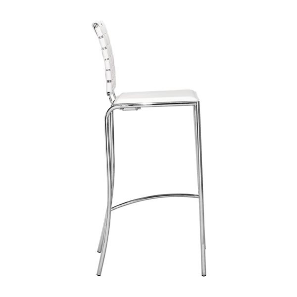 Zuo Modern Criss Bar Stool - 29-in - Faux Leather - White - Set of 2