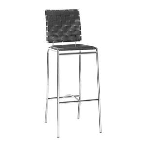 Zuo Modern Criss Bar Stool - 29-in - Faux Leather - Black - Set of 2