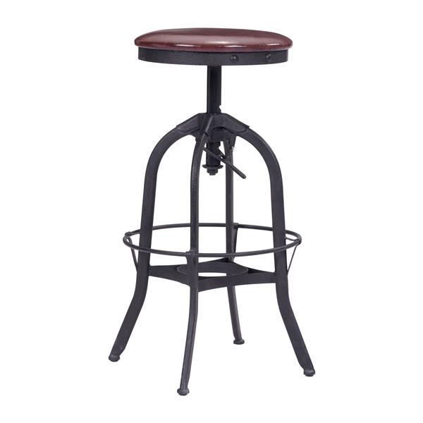 Tabouret de bar Crete de Zuo Modern, 28 po, métal, noir