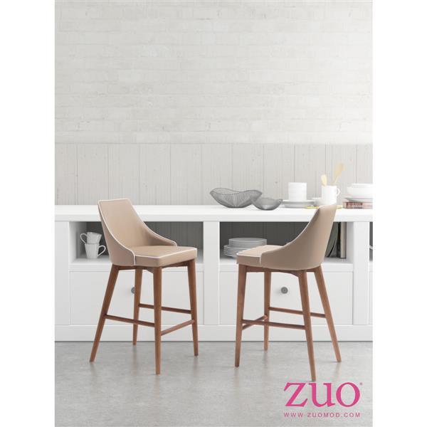 Zuo Modern Moor Bar Stool - 26-in - Faux Leather - Gray