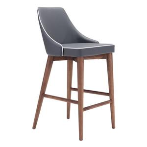 Zuo Modern Moor Bar Stool - 26-in - Faux Leather - Gray