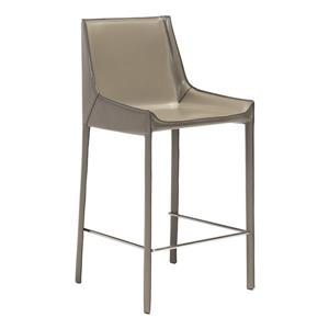Zuo Modern Fashion Bar Stool - 26-in - Leather  - Gray - Set of 2