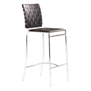 Zuo Modern Criss Bar Stool - 26-in - Faux Leather - Black - Set of 2
