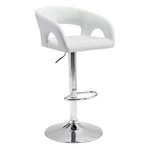 Zuo Modern Hark Bar Stool - 24.8-in - Faux Leather - White