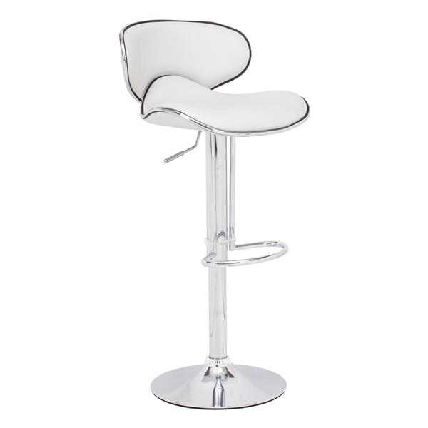 Zuo Modern Fly Bar Stool - 24.8-in - Faux Leather - White