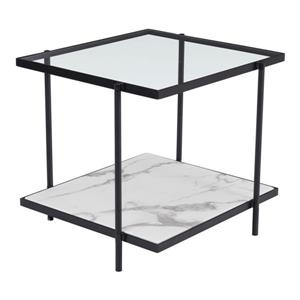 Zuo Modern Winslett Side Table - 24-in x 22-in - Faux Marble - Black Metal
