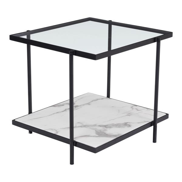 Table d'appoint en métal Winslett de Zuo Modern, marbre synthétique, noir