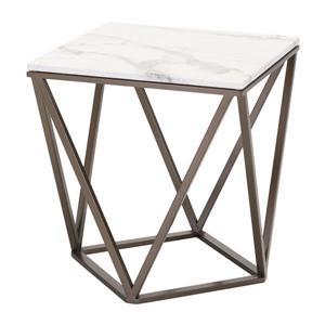 Zuo Modern Tintern Side Table - 20.1-in x 21.7-in - Faux Marble - Antique Brass