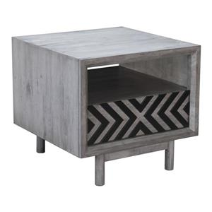 Zuo Modern Raven Side Table - 1-Drawer - 24-in x 22-in - Grey