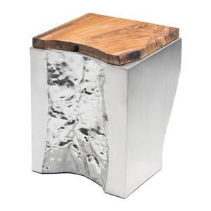 Table d'appoint Luxe de Zuo Modern, 13,8 po x 18,5 po, dessus en bois, argent