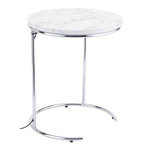 Zuo Modern Kensington Side Table - 16.9-in x 20.9-in - Faux Marble - Metal