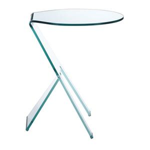 Table d'appoint en verre Journey de Zuo Modern, 19,5 po x 23,5 po, transparent