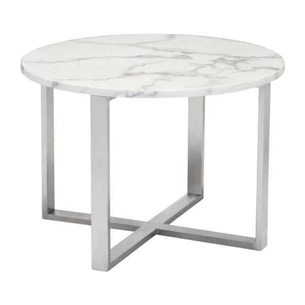 Table d'appoint Globe de Zuo Modern, 24 po x 16,9 po, marbre synthétique blanc, argent