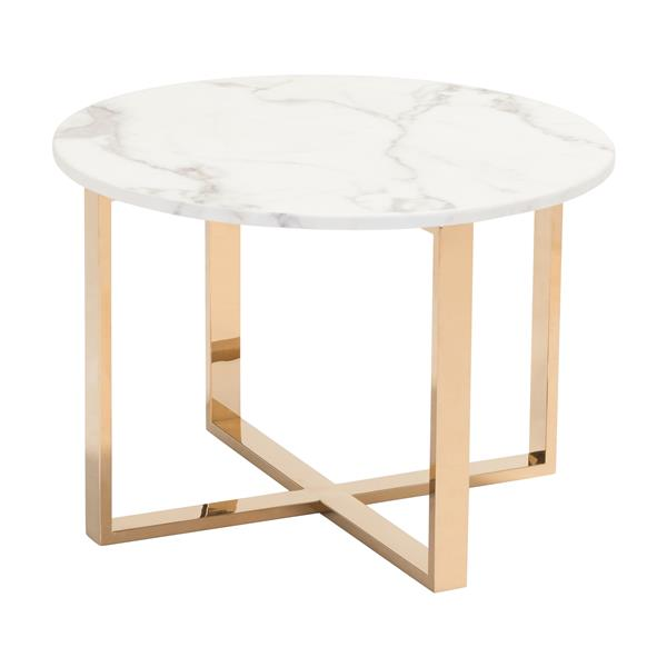 Table d'appoint Globe de Zuo Modern, 24 po x 16,9 po, marbre synthétique blanc, or