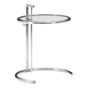 Zuo Modern Eileen Side Table - 23.6-in x 37.4-in - Clear Glass - Chrome Frame