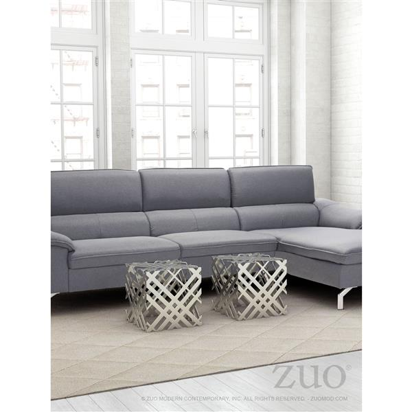 Table d'appoint en métal Carlisle de Zuo Modern, 14 po x 14 po, gris