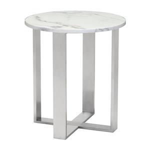 Table d'appoint Atlas de Zuo Modern, 18,1 po x 20,5 po, effet de marbre, structure argentée
