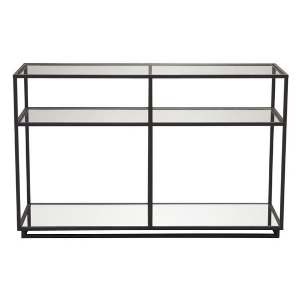 Table console en verre trempé Kure de Zuo Modern, 48 po x 30 po, noir