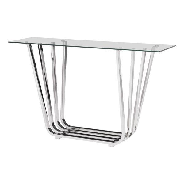 Table console de la collection Fan de Zuo Modern, 55 po x 33.3 po, verre trempé et chrome