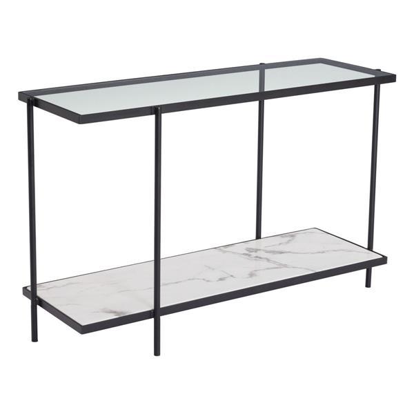 """Table console Winslett, 46,1"""" x 29,9"""", faux marbre, noir"""