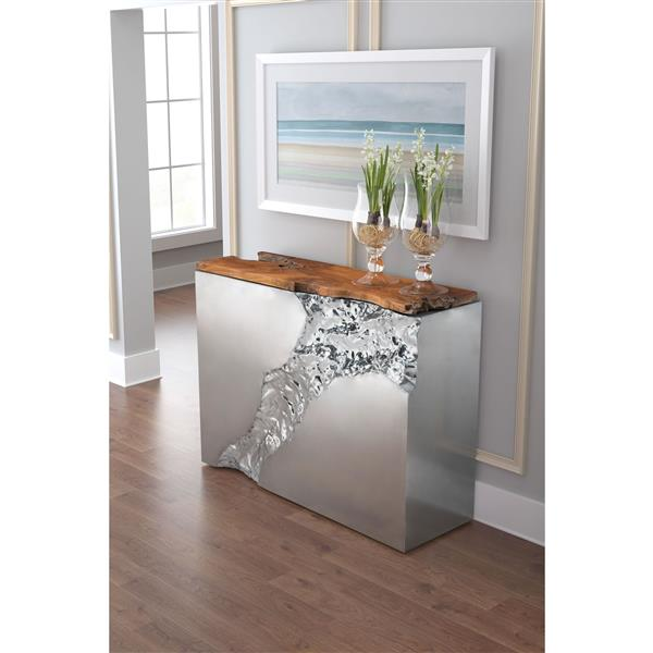 """Table console Luxe, 47,2"""" x 36,6"""", teck, argent"""