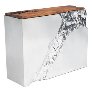 Zuo Modern Luxe 47.2-in x 36.6-in Silver Teak Console Table