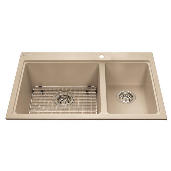 Kindred Granite Champagne Franke Double Sink 31.56-in