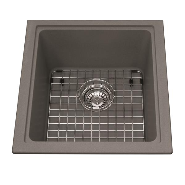 Kindred Franke 18.13-in X 16.75-in Grey Granite Single Sink