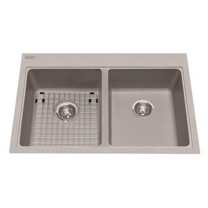 Kindred Franke 22-in X 33-in Grey Granite Double Sink