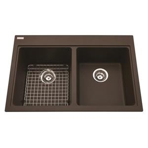 Kindred Franke 22-in X 33-in Brown Granite Double Sink