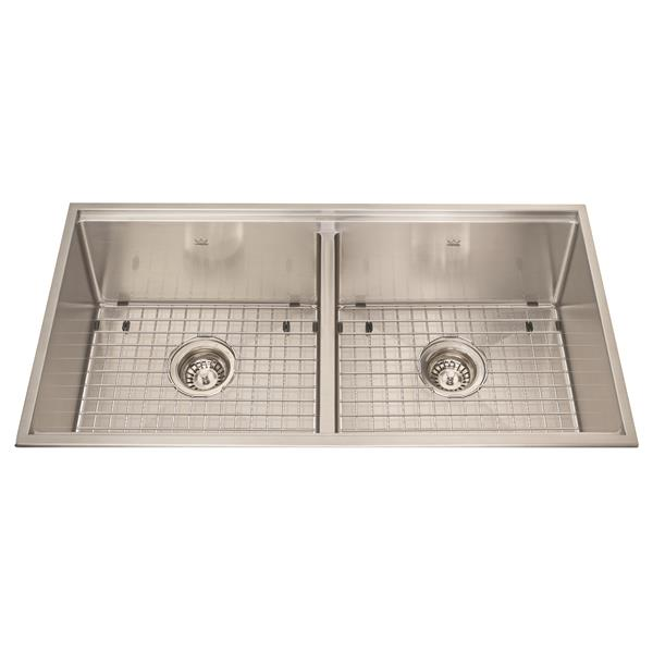 Kindred 34.50-in x 18.50-in Stainless Steel Double Sink