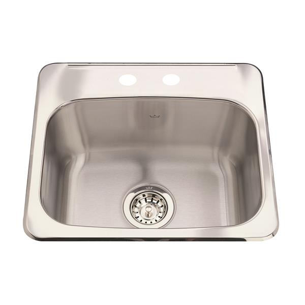 Kindred Steel Queen Topmount 19.13-in x 17-in Stainless Steel Single Hospitality Sink