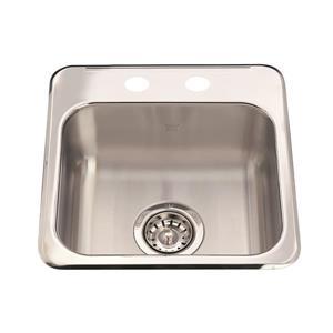 Kindred Steel Queen Topmount 15.25-in x 15.44-in Stainless Steel Single Hospitality Sink