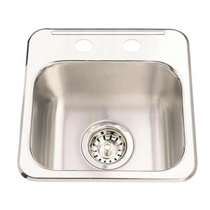 Kindred Steel Queen topmount 13.63-in x 13.63-in Stainless Steel Hospitality Sink